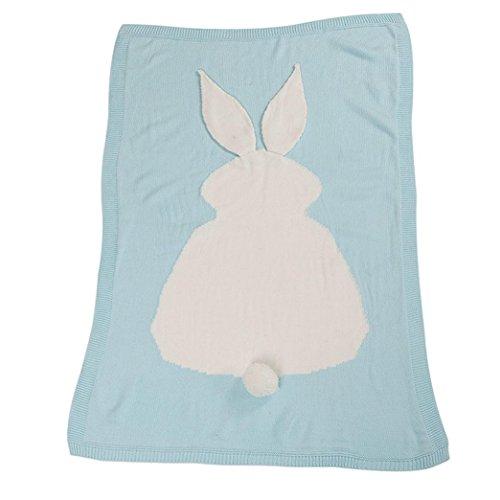 kingko® Kinder Kaninchen Stricken Decke Bettwäsche Gesteppte Spieldecke Tier Kinder werfen Decke Krippe Wrap Decke (Himmelblau) (Mädchen Gesteppte Bettwäsche)