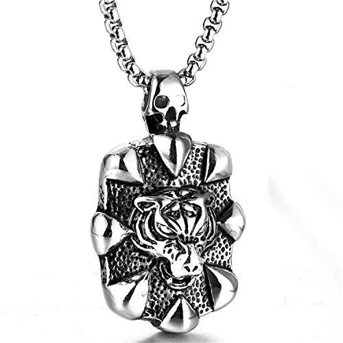 XLLJA Halskette Herren,Titan Stahl Tiger Kopf Anhänger, Vintage Edelstahl Halskette männlich, Weihnachtsbeleuchtung, Geburtstag