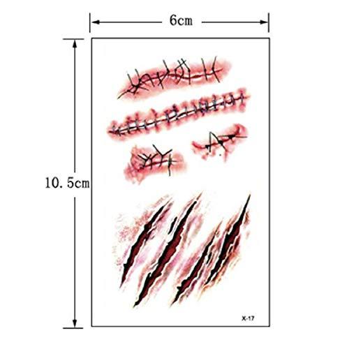 ombie Narben Tattoos mit gefälschtem Schorf blutigen Make-up Halloween Dekoration Wound Scary Blut Injury Sticker ()