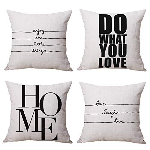 Youngnet Kissenbezüge mit Zitaten in Schwarz und Off-White, 45,7 x 45,7 cm, Baumwollmischung, Heimdekoration, 4er-Set - Schlafzimmer-akzent-kissen