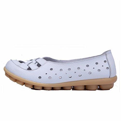 Moonwalker Damen Leder Sommer- Slipper Mokassin 2017 Neues Modell Weiß