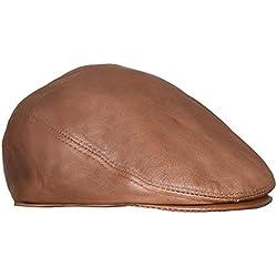 Infinity Leather Gorras Planas de Cuero Bronceado Suave para Hombres Ivy Beret Newsboy Gatsby Golf 2XL