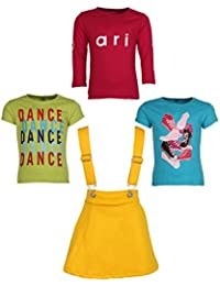 Gkidz Girls Pack of 3 Printed Cotton T-shirts with 1 Pack Stretchable Dungree Skirt (JG-GRAPHICCMB6_N_003DNGRE-YLW_Multicolor )
