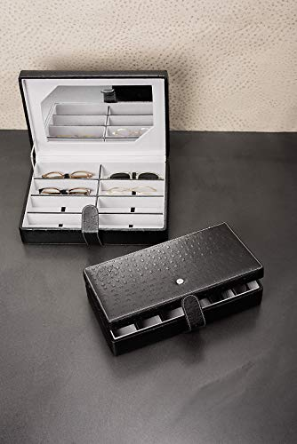 Mehrbrillenetui Brillenkoffer Brillenetui für bis zu 8 Brillen Schatzkästchen (espresso) Größe 345x250x80mm robust & edel mit Spiegel !