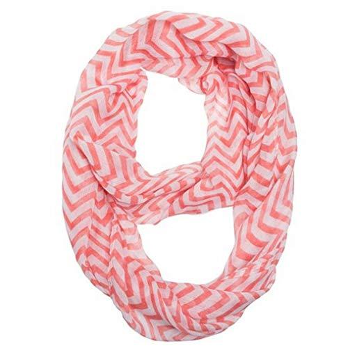 FERZA Home Frauen-Unendlichkeits-Zickzack-Zickzack-Farbblock-Doppelt-Schleife Sheer Scarf Wrap (Color : Hot Pink)