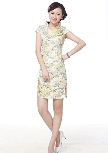 Smile YKK Femme Robe Courte Chinois Cheongsam Qipao Imprimée de Cocktail Jaune