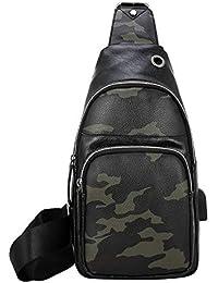 06549b7f28cf2 ShanZWH Umhängetasche Herren PU Leder Brusttasche Multifunktions Outdoor  Sport Umhängetasche Mode Schulter Messenger Rucksack…