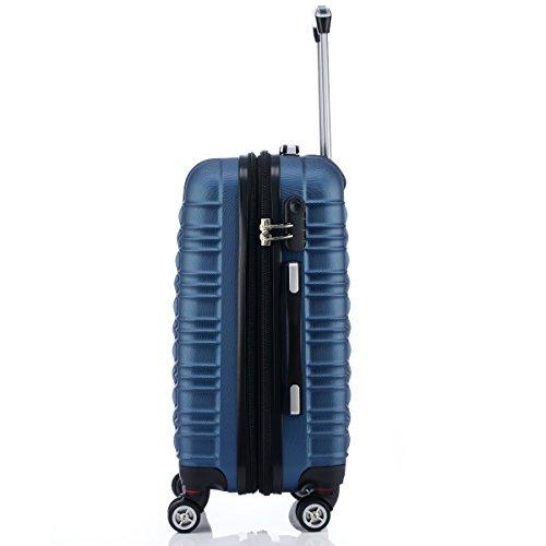 Reisekoffer 2088 Hartschalekoffer Gepäck Koffer Trolley Bordcase Handgepäck M in 14 Farben (Blau) - 6