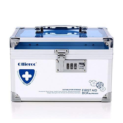 Remylady Medizin-Schließkassette, Aufbewahrung für Medikamente, Gesundheitspflege, Schmuckkasten, Medizin-Schrank, Organisationsbox mit Kombinationsschloss (Reise-medizin-schrank)