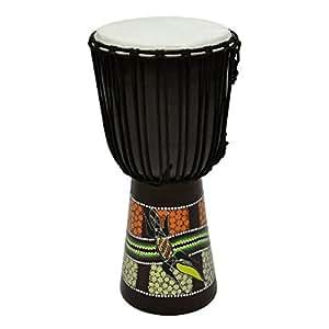60 cm Djembe Trommel Buschtrommel Afrika-Style handbemalt exotischer Dotprint Schnüre Knoten Ziegenfell schwarz bunt