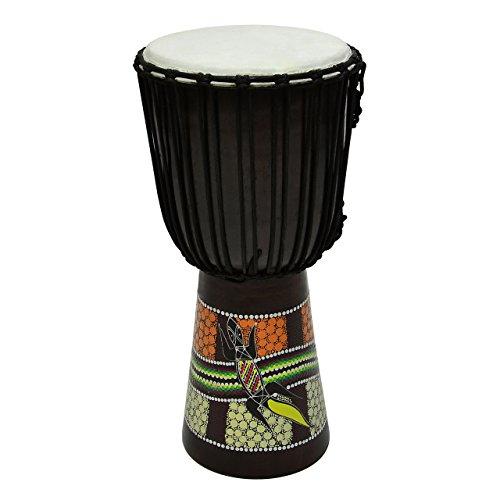 Djembe Trommel Buschtrommel Afrika-Style handbemalt exotischer Dotprint Schnüre Knoten Ziegenfell schwarz bunt Größe wählbar (60 cm)