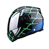 CASQUE FAFY Motorrad Helm Double Lens Flip Up Motorrad Abnehmbare Liner Aerodynamisches Design Modular Helm Spiderman Helm Geschenk,Green-M