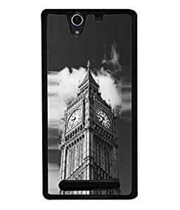 PrintVisa Designer Back Case Cover for Sony Xperia C3 Dual :: Sony Xperia C3 Dual D2502 (Heights Highrise Tower Big Time Watch Wallpaper)