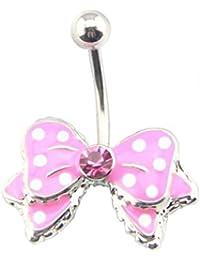 Piercing nombril nœud papillon avec des points et des cristaux par BodyTrend