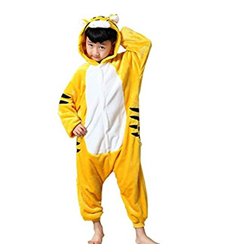 Kenmont Jumpsuit Tier Cartoon Einhorn Pyjama Overall Kostüm Sleepsuit Halloween Cosplay Animal Sleepwear für Kinder Baby (Größe125: Höhe 125-140, Tiger)