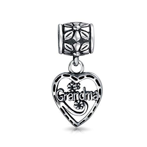 Vintage-Stil Bff Grandma Wort Herz Baumeln Charm Bead Für Großmutter 925 Sterling Silber Passt Europäischen Armband -