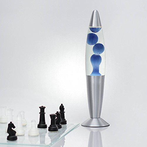 Lavalampe 35cm Blau transparent Timmy E14 25W Kabelschalter Geschenkidee Weihnachten inklusive Leuchtmittel Magmaleuchte Stimmungslicht