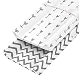 Zooawa Baby Stretchy Cotton Mattress Pad Encasement Set, 2 Pack Soft Crib Pad Protective Mattress Case Sheets Protector Cover with Safety Buckle for Newborn Infant, Stripe + Arrow