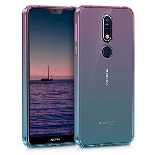 kwmobile Cover per Nokia 7.1 (2018) - Custodia in TPU Silicone per Cellulare Nokia 7.1 (2018) - Fucsia/Blu/Trasparente