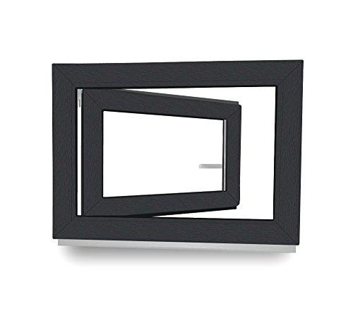 fenster 80x60 Kellerfenster - Kunststoff - Fenster - anthrazit / weiß - BxH: 80 x 60 cm - DIN Rechts