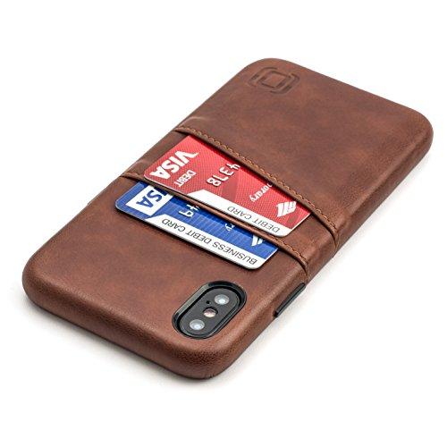 Dockem Exec M2 Handyhülle mit Kartenfach für iPhone XS/X: Schlanke Wallet Handytasche mit integrierter Metallplatte für Magnet-Halterung - M-Serie [Braun] -