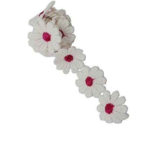 Baoblaze Vintage Deko Band Blume Spitzenbesatz für Hochzeitskleid - Rose Rot