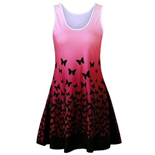 FNKDOR New Womens Elegant Evening Dress Butterfly Printing Sleeveless Party  Dress Vintage Casual Dress(RedUK 1a0dc43d1c8