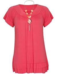 Womens Short Ruffle Frill Sleeve Ladies V Neckline Stretch T-Shirt Bead Necklace Top Plus Size