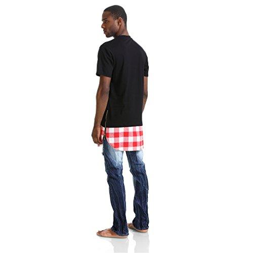 Pizoff Unisex Hip Hop Langes T-Shirt mit Karo Druckmuster Saum Reißverschluss P3251