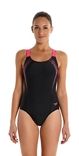 speedo-womens-sports-logo-medalist-swimsuit-black-vegas-pink-size-40