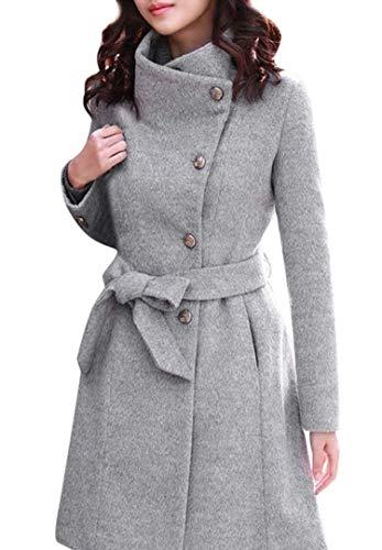 Oudiya Mantel Damen Wnter Mantel Elegant Wintermantel Winter Jacke Frauen Mäntel Lang Trenchcoat Wollmantel mit Reverskragen