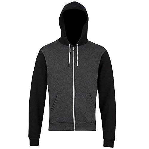 american-apparel-felpa-con-cappuccio-e-cerniera-due-colori-unisex-adulti-l-grigio-scuro-nero