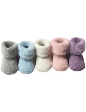 La vogue 0-36 Monate Babysocken Winter Rutschfest Erstlingssöckchen Baumwolle 5er Pack