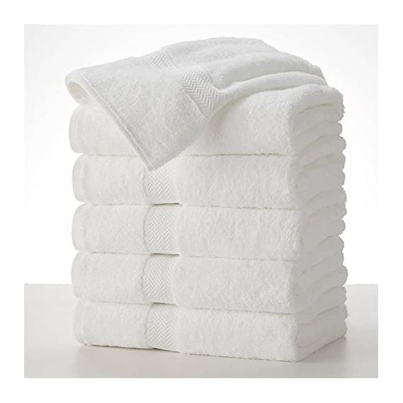 Shop By Room Terry Weave 100% Cotton Quick Dry White Hand Towel - Set of 5-12 x 20 inch - Multicolour