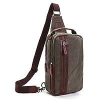 Outreo Small Messenger Bag Vintage Chest Bag Men Cross body Shoulder Bag for Sport Travel Satchel Gym Canvas Retro Crossbody Side Pack