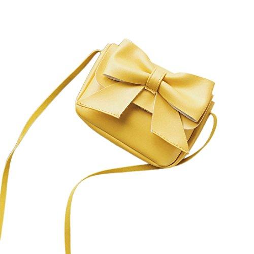 Verrückte Rabatt-Saison UFACE Niedlichen Bogen Leder Mini Schultertasche Messenger Bag GeldböRse Kinder MäDchen Nette Bowknotl Handtasche Crossbody Tasche (Gelb)