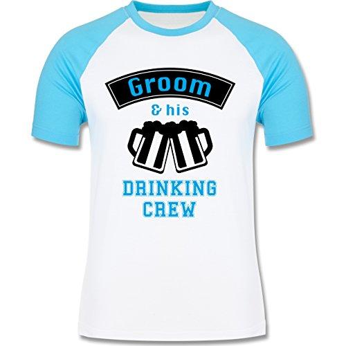 JGA Junggesellenabschied - Groom and his drinking crew - zweifarbiges Baseballshirt für Männer Weiß/Türkis