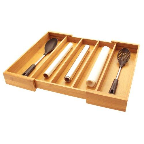 Ampliable cubiertos de utensilios de cocina bandeja de cajón para cubiertos, organizador de inserciones...