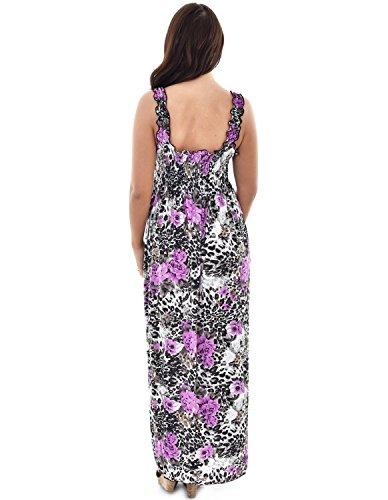 Desire Clothing Maxi robe d'été longue Robe à imprimé Animal Tissu Stretch Violet - Lilas