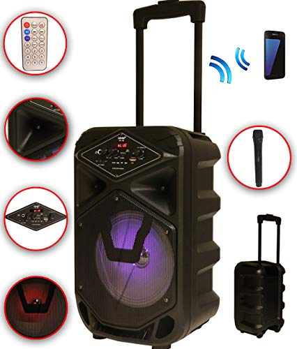 Karaoke Anlage mobile PA Lautsprecherbox Trolley USB MP3 Wireless LED K8-8 DMS® (Sound Karaoke)