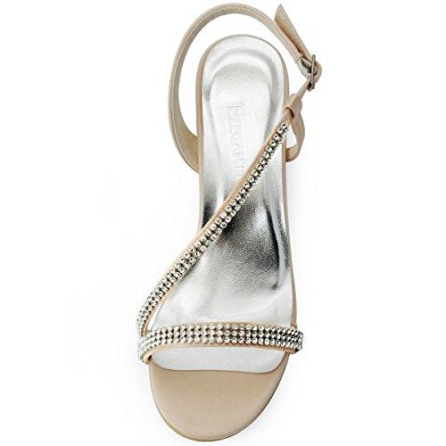 Elegantpark Ep11102 Mujeres Peep Toe Rhinestone Cargo Flat Satin Bride Champagne Zapatos De Noche