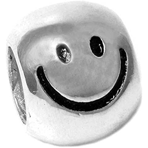 Queenberry europea Happy Face in argento puro con Charm