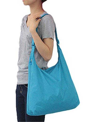 Fortuning's JDS Le donne di colore puro pieghevole grande capacità portatile sacchetti di nylon impermeabile spalla Crossbody Cielo blu