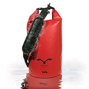 HAWK Outdoors Dry Bag - wasserdichter Packsack mit gepolsterten Schulter-Gurten - 10L - Stausack Seesack Beutel Dry Bag - Wasserfester Rucksack - Kanu-Fahren, Rafting, Angeln, Segeln, Kajak-Fahren, Snowboarden