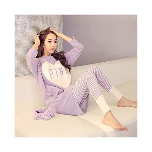 Pajamas Sets Women O-Neck Cartoon Printing Kawaii Cotton Sleepwear Pajamas Womens Winter Soft KorUPC Homewear 2 Pieces Cute Set 6 XL (Victoria S Halloween Secret-models)