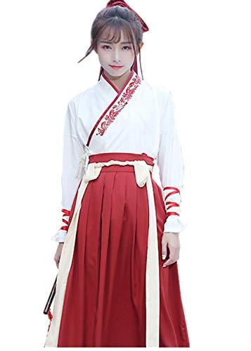 Comic Paare Für Kostüm - Susichou Hanfu Stickerei-Kleider, Kampfsport-Kostüme, Paare, Verbandskostüme, Abschlussfotos für Erwachsene, Zeremonie Gr. L, rot