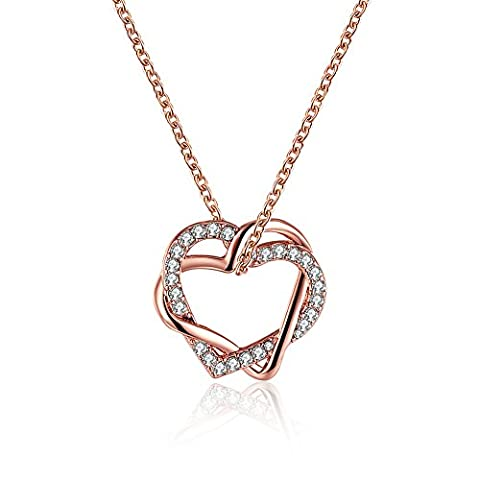 FJYOURIA Women's Twisted Love Double Heart Pendant with Cubic Zirconia