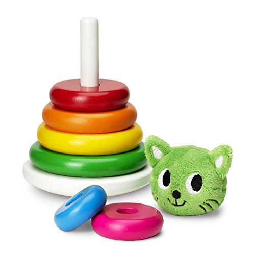 Imagen principal de Micki 10.2130.00  - Pirámide de piezas de madera de colores apilables con cabeza de gato de peluche