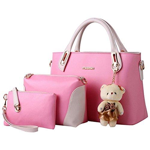 Honeymall borse tote Set donna Elegante 3 Pezzi Rosa Rosa