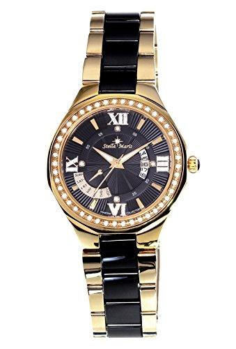 Stella Maris - STM15Y8 - wrist watch for women - quartz movement analog display - black dial - black ceramic bracelet